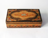 Bohemian brown wood box - ethnic pattern rustic wood hand crafted box - floral motifs