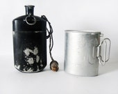 Black and Gray Army Vintage Canteen - water bottle aluminium - german army bottle with aluminium mug