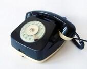 Black and Ivory phone - Vintage European Rotary Telephone - Retro Rotary Phone - East Europe Made in Romania