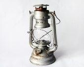 Silver Grey Kerosene Railroad vintage Lantern Lamp - Globus lantern -  vintage lantern - gray