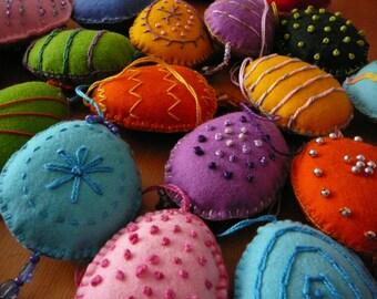 Spring Embellished Eggs Easter Eggs Felt Eggs