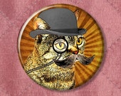 """The World-Famous Dandy Cat with mustache and fancy monocle - Pinback Button Badge -  2.25"""" Two Inches"""