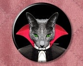 "Cat Von Scratchula Vampire Cat - Pinback Button Badge -  2.25"" Two Inches"