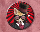 "Steampunk Fox Admiral Fox - Pinback Button Badge -  2.25"" Two Inches"