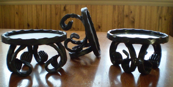 Wrought Iron Stand Scroll Design, Pillar Candle Stand, Flower Vase Stand, Small Plant Stand - Wrought Iron Candle Holder