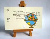 Print of Colorful Vintage Globe painted on Library Card - Africa Dewey Decimal