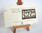 Abacus painted on Library Card - science math black brown gold
