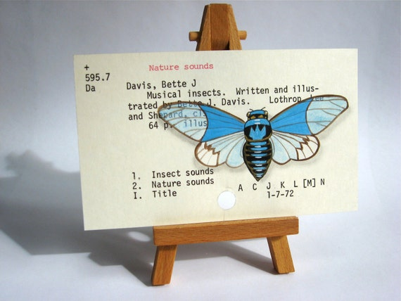 Library Card with Cicada library card catalogue card Dewey Decimal original hand-painted insect art blue gold black