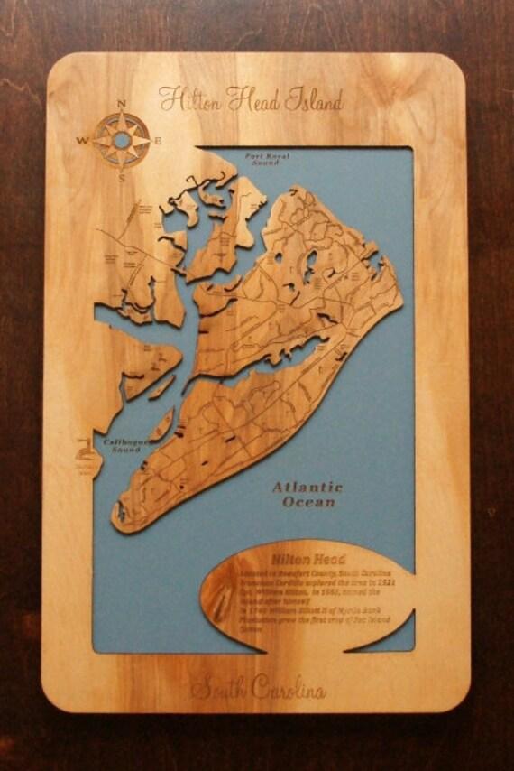Wooden Laser Engraved Coastal Map Of Hilton Head Island South