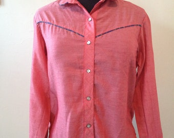VINTAGE Women's WESTERN-Style Shirt w/ PLAID Piping
