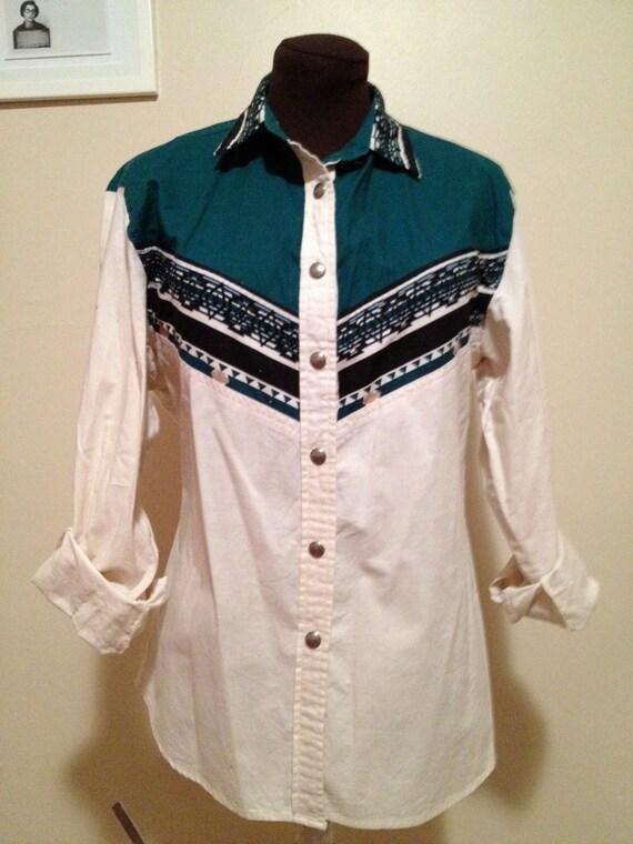 VINTAGE 1980s Women's WRANGLER SOUTHWESTERN Print Shirt