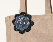 Fabric flower brooch pin - multicolor flowers on blue and black white polka dots - medium size