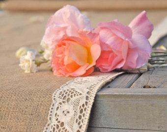 "Wedding Aisle Runner, Crochet Ivory Lace Trimmed Burlap Wedding Aisle Runner 30 feet Long (420"") Ships ASAP"