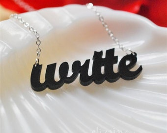 writer acrylic necklace