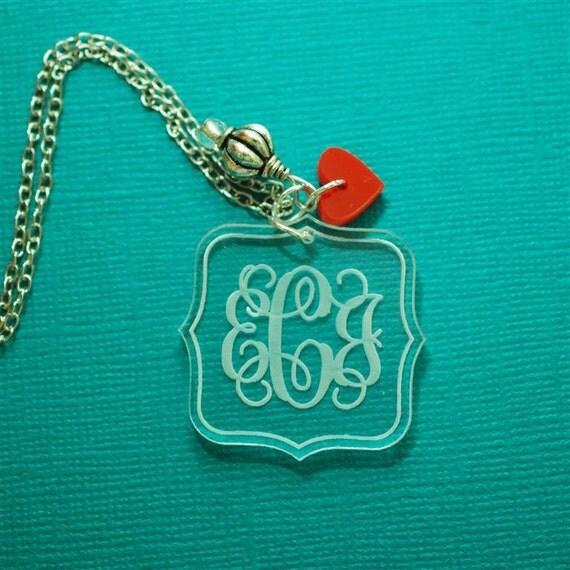 Vine monogram personalized acrylic necklace