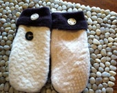 Felted Wool Mittens from recycled sweaters - Brown & Ivory