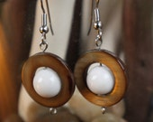 earrings- loop natural stone earrings in brown and white