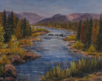 River with Pine Trees