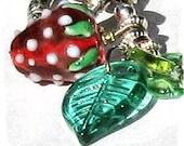 Lampwork Bracelet Handmade STRAWBERRY FIELDS One of a Kind