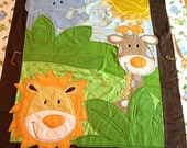Safari Friends Baby Quilt with Fleece Backing -- Stroller Size