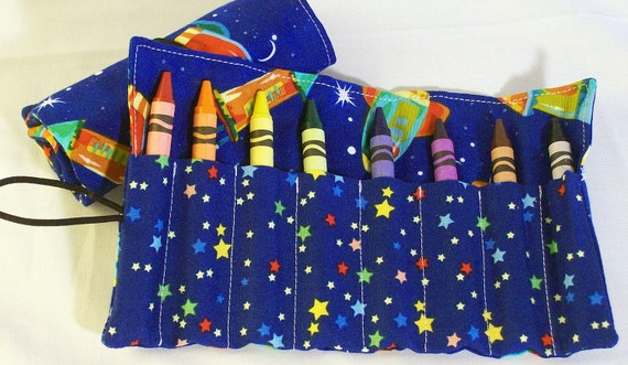 Crayon Roll Outer Space Rockets