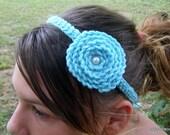 Rosette Headband Ocean Blue