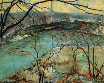 Diptych. On the Bluffs, River View in Winter