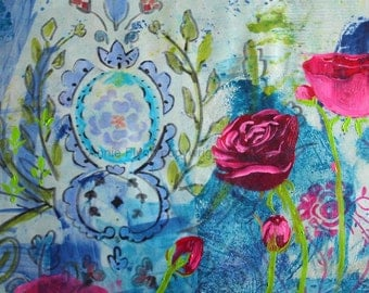 "Archival Print of original mixed media ""Roses on Damask in Aqua"""