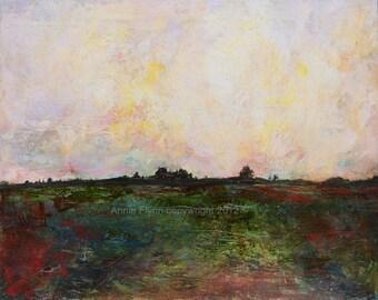 "Archival Print of original oil painting ""Farm at Sundown"""