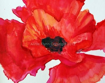 "Archival Print if Original Work ""Red Poppy Watercolor"""