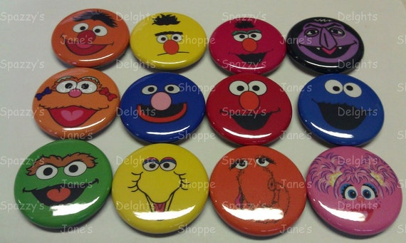 2 Complete Sets (24 Buttons) Sesame Street Gang Friends Pals Flat Back  / Hollow Back / Pin Back Buttons.  US 1st Class Shipping Included