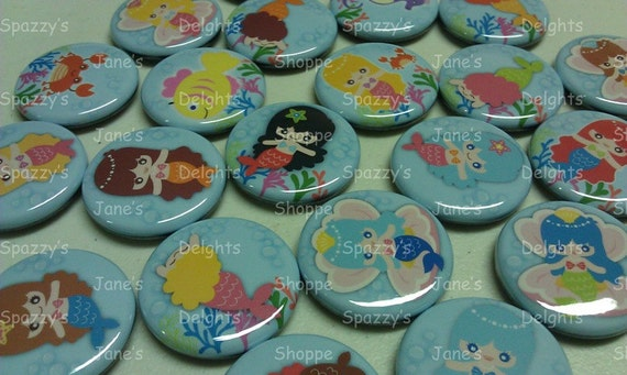 "Kawaii Mermaid Princesses & Friends Flatback/Pinback/Hollowback (1.25""/31mm) Set of 15 Buttons Party Favors / DIY Projects"