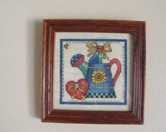 Framed Watering Can Cross Stitch