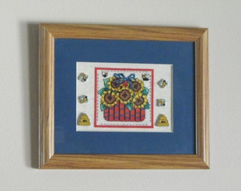Sunflowers in a Basket Framed Cross Stitch