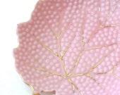 Vintage Porcelain Leaf Candy Dish Pink and Gold Japanese
