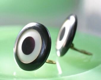 Vintage Lucite Earrings Clip On Black White Target Motif