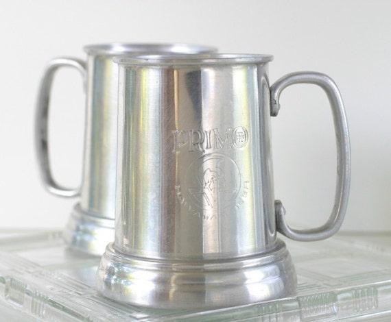 2x Primo Hawaiian Beer Mugs Set Vintage Aluminum