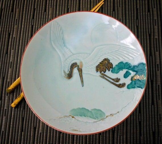 Vintage Japanese Plate Full Moon Celadon Flying Crane and