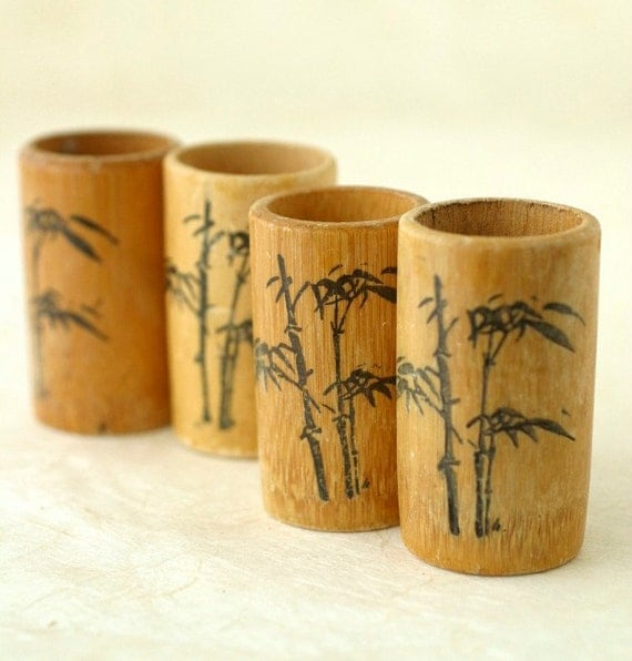 Vintage Bamboo Cups Aperitif Liqueur Rustic Tiki Fathers Day Gift