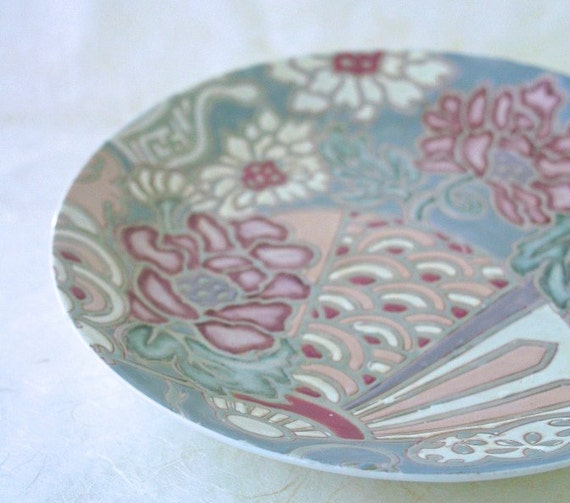 Vintage Japanese Serving Plate Toyo Porcelain Garden Fan Motif