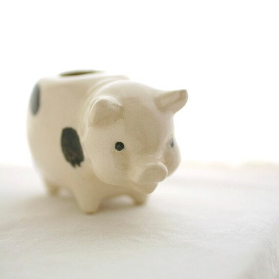 Vintage Mid Century Ceramic Spotted Pig Toothpick Holder