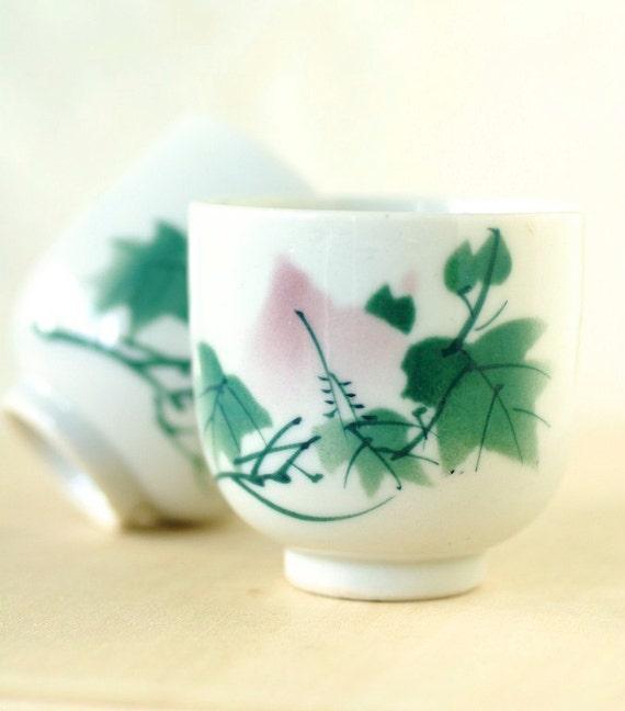 Vintage Teacups Japanese Porcelain Pink and Green Garden Scene Set of Two