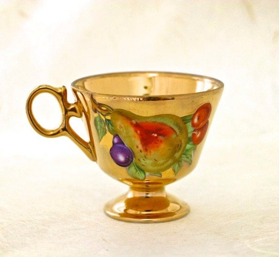 Vintage Eggshell Porcelain Teacup and Saucer Golden Summer Fruit Motif