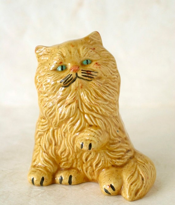 Cat Figurine Vintage Ceramic Persian Kitty Long Haired Blue Eyes