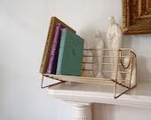 Book Shelf Vintage Wire Shelf Desk Top Mid Century