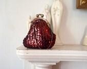 Sequin Evening Bag 1940s Chubby Antique Purse