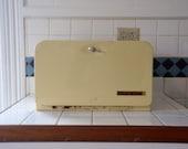 Bread Box Vintage Metal Yellow Large Bread Box