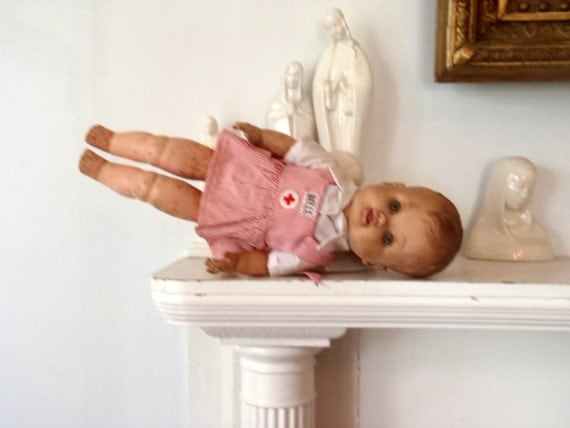SALE Nurse Doll 1940s Antique Rubber Candy Striper Baby Doll Red Cross