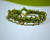 Green Leather Braided Bracelet, Braided Leather Bracelet, Braided Bracelet, Leather Bracelet, Friendship Bracelet