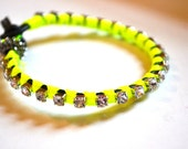 Neon Yellow Wrap Bracelet on a Leather Cord with Silver Rhinestone Chain, Leather Wrap Bracelet, Friendship Bracelet